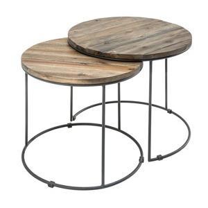moebel living set dvou prirodnich akatovych odkladacich stolku rondon 50 45 cm