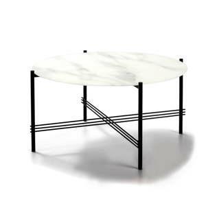 bilo cerny konferencni stolek se sklenenou deskou v mramorovem dekoru marckeric o 84 cm