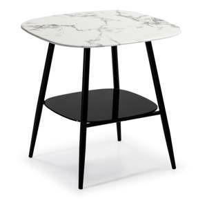 bilo cerny odkladaci stolek se sklenenou deskou v mramorovem dekoru marckeric alina