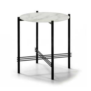 bilo cerny odkladaci stolek se sklenenou deskou v mramorovem dekoru marckeric o 47 cm