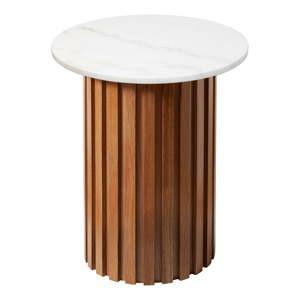 bily mramorovy stolek s dubovym podnozim rge moon 50 cm