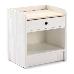 bily nocni stolek s deskou z borovicoveho dreva marckeric monte