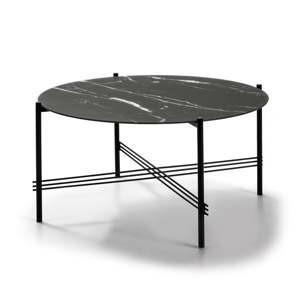 cerny konferencni stolek se sklenenou deskou v mramorovem dekoru marckeric o 84 cm