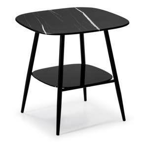 cerny odkladaci stolek se sklenenou deskou v mramorovem dekoru marckeric alina