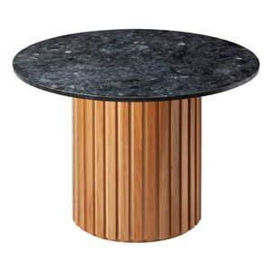 cerny zulovy jidelni stul s podnozim z duboveho dreva rge moon 105 cm