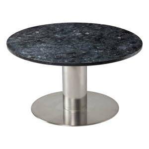 cerny zulovy konferencni stolek s podnozim ve stribrne barve rge pepo 85 cm