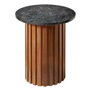 cerny zulovy stolek s dubovym podnozim rge moon 50 cm