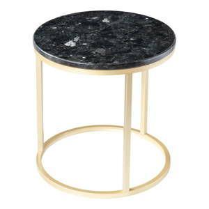 cerny zulovy stolek s podnozim ve zlate barve rge crystal 50 cm