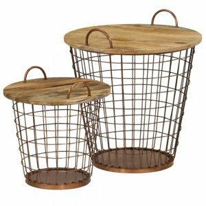 odkladaci stolek 2ks mangovnikove drevo ocel dekorhome