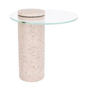 svetle ruzovy terrazzo odkladaci stolek zuiver rosalina 40 cm