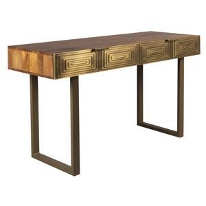 zlaty dreveny toaletni stolek dutchbone volan 140 x 50 cm