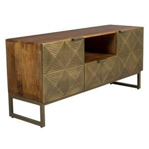 zlaty dreveny tv stolek dutchbone volan 135 x 40 cm